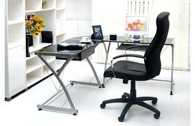 desk black l shaped glass desk office