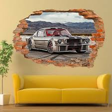 Cool Muscle Car Mustang Wall Stickers 3d Art Mural Poster Decal Room Decor Tb7 Ebay