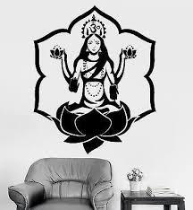 Wall Sticker Buddha Goddess Lakshmi Lotus Om Meditation Vinyl Decal Unique Gift Z2914 Dance Wall Decal Wall Stickers Home Decor Wall Stickers Home
