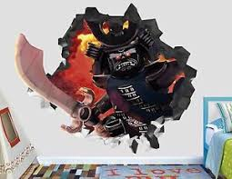 Lego Ninjago Fight 3d Wall Decal Smashed Sticker Decor Vinyl Movie Poster Mural