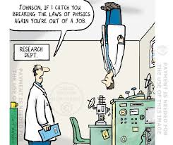 Scientist breaking the laws of physics – cartoon