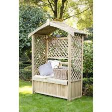 garden wooden bench with pergola