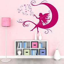 Moon Fairy Wall Decal Wall Decal For Kids Girls Room Sticker Nursery Vinyl Wall Art Kids Room Mural Decor 2300 47in X 38in Brown Walmart Com Walmart Com