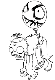 Balloon Zombie Coloring Page - Free Printable Coloring Pages for Kids