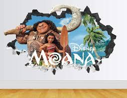 Amazon Com Moana Maui Wall Decal Smashed 3d Sticker Vinyl Decor Mural Disney Movie Kids Broken Wall 3d Designs Ah46 Large Wide 40 X 24 Height Home Kitchen