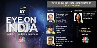 "EY India på Twitter: ""Do not miss tonight's episode of #EYEyeOnIndia as EY  India Partner @Harishanker09, @cbic_india Commissioner Manish Sinha and  Ingram Micro India CFO Prabhakar Iyer discuss #GSTAtOne with @ShereenBhan at"
