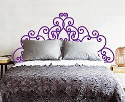 Headboard Decal Vinyl Wall Decal Queen Full Twin King Size Bed Flower Vine Home Stickers Decors For Girls Woman Bedroom Removable W900 Thefuns On Artfire