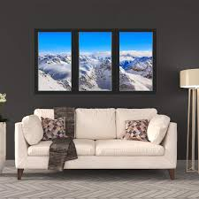 Vwaq Snow Mountain Range 3d Window Wall Stickers For Office Winter