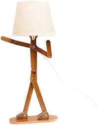 Voglee Novelty Cool Diy Desk Lamp For Kids Bedroom Adjustable Beside Table Lamp Swing Arm Wood Nightstand Light Living Room Dorm Walnut Amazon Com
