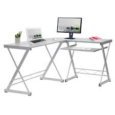 wrought studio glass l shape desk