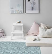 Vinyl Mat Kids Pattern Decorative Mat For Children S Room Linoleum Pvc Mat Turquoise Squares 125 Vanill Co