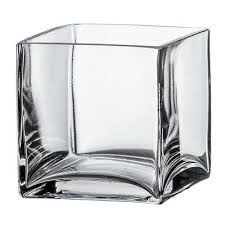4 square clear glass vase cube