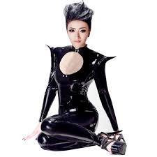 cat women black faux leather catsuit