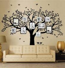 Amazon Com Family Tree Wall Decal Butterflies And Birds Wall Decal Vinyl Wall Art Photo Frame Tree Stickers Living Room Home Decor Wall Sticker Black Home Kitchen