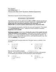 pre algebra skill builder le 1