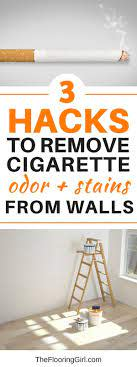 cigarette smell and stains from walls