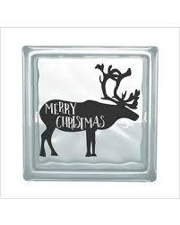 Remarkable Deals On Christmas Glass Block Vinyl Decal Merry Deer Diy Holiday