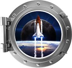 Amazon Com 18 Port Scape 3d Instant Window View Space Shuttle 2 Silver Porthole Wall Decal Removable Wall Sticker Nasa Spaceship Wall Art Boys Bedroom Man Cave Decor Home Kitchen