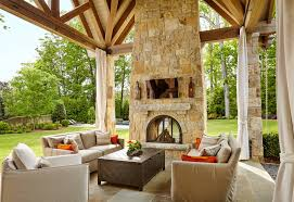 covered patio with soaring stone