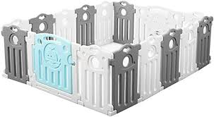Amazon Com Xsj Playards Toddler Care Fence Playpen Baby Safety Gate With 16 Colorful Panels Shatter Resistant Toys House Children Crawling For Infant Activity Center Home Kitchen