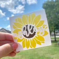Sunflower Decal Sunflower Monogram Decal Personalized Etsy In 2020 Monogram Decal Monogram Stickers Monogram Vinyl Decal