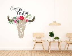Boho Wall Decals Country Darlin Wall Decal Boho Floral Cow Skull Wall Decal Clear Vinyl Decal Bohemian Vintage Sticker Watercolor Rustic Florals Wall Boho Bedroom