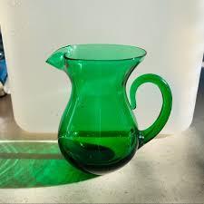 vintage emerald green glass rare vase