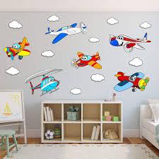 Vwaq Kids Airplane Wall Decals Peel And Stick Aviation Vinyl Stickers