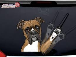 Boxer Waving Dog Decal Wipertag For Rear Windshield Wiper Wipertags