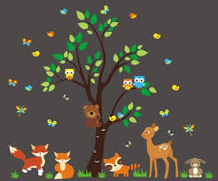 Forest Nursery Decals Woodland Creatures Nature Wall Stickers Nurserydecals4you