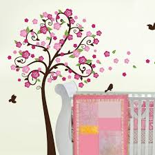 Flower Tree Birds Branch Wall Decal Decalmywall Com