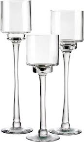 candle holder set of 3 glass