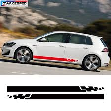 2pcs For Volkswagen Golf Polo Racing Sport Stripes Decal Car Door Side Sticker Auto Accessories Waterproof Decals Car Stickers Aliexpress
