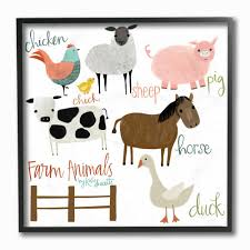 The Kids Room By Stupell 12 In X 12 In Cow Pig Sheep Horse Chicken And Duck Farm Animal By Katie Doucette Framed Wall Art Brp 2318 Fr 12x12 The Home Depot
