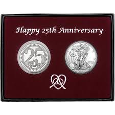 anniversary gift silver round 2pc set