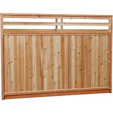 6 Ft X 8 Ft Premium Cedar Venetian Top Fence Panel With Stained Spf Frame Actual Size 68 3 8 In Fence With Lattice Top Fence Panels Lattice Fence Panels