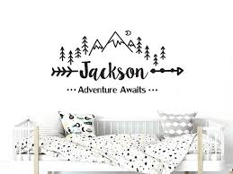 Amazon Com Mountain Nursery Wall Decal Adventure Awaits Arrow Vinyl Stickers Mountain Wall Decor Boys Custom Name Boys Name Stickers C681 Handmade