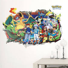 Cartoon Pokemon Go 3d Decals Wall Stickers Pikachu Wallpaper Mural For Kid Room 600174176718 Ebay
