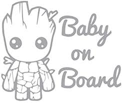 Amazon Com Baby Groot Baby On Board Vinyl Sticker Decals For Car Bumper Window Laptop Tablet Phone 6 X 5 Silver Automotive