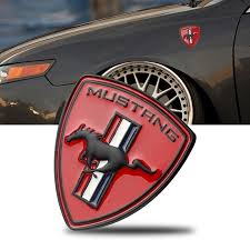 Robot Skull Horse Style Front Hood Grille Metal Decal Emblems For Ford Mustang