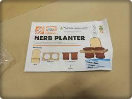 home depot kids work herb planters