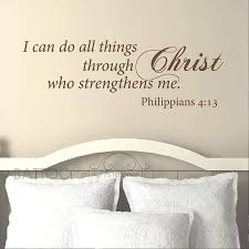 Amazon Com Battoo Scripture Wall Decal I Can Do All Things Through Christ Who Strengthens Me Christian Bible Verse Wall Sticker Christian Decor Dark Brown 30 Wx10 5 H Arts Crafts Sewing