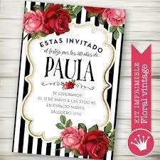 Kit Imprimible Rosas Vintage Shabby Rayas Blanco Y Negro