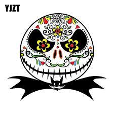 Yjzt 13 5cm 12cm Mexican Sugar Skull Car Sticker Jack Skellington Nightmare Car Window Reflective Decals C1 7080 Reflective Decal Skull Car Stickercar Sticker Aliexpress