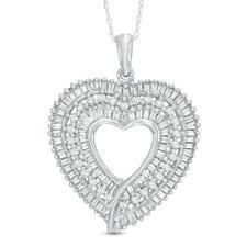 ct t w baguette diamond heart pendant