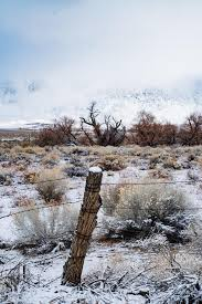 Snow Accumulation On Fence Post And Hills And Mountains In Desert Valley Stock Photo Image Of Close California 169522768