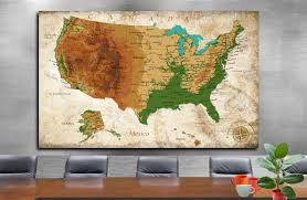 map us map detailed us map wall art