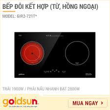 Bếp Hồng ngoại - Từ đôi Goldsun GIR2-721T* - ITALIA - Công suất 3900W -  Hàng chính hãng - Bảo hành 24 tháng