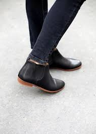black ankle chelsea boots flat shoes