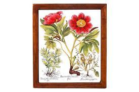 תמונה פרחים גדולה מקרמיקה איטלקית מצויירת בסגנון בוטניקה